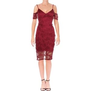 Guess Burgundy Womens Cold-Shoulder Lace Dress